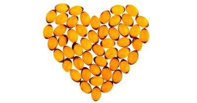 Health healthy supplements formed into a heart shape