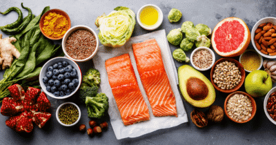 Photo of fruits, vegetables, black-eyed peas, fish and other foods with naturally-occurring folate