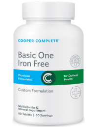 Cooper Complete Basic One Iron Free Multivitamin and Mineral Supplement Bottle