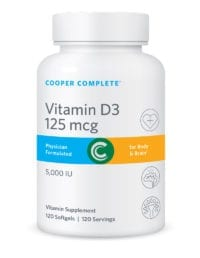 Cooper Complete Vitamin D3 125 mcg or 5,000 IU Supplement Bottle
