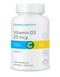 Cooper Complete Vitamin D3 25 mg or 1,000 IU Supplement Bottle